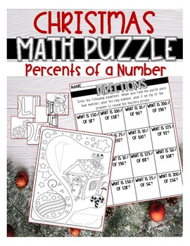 CHRISTMAS MATH PUZZLE Finding Percents of a Number