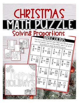CHRISTMAS MATH PUZZLE: Solving Proportions