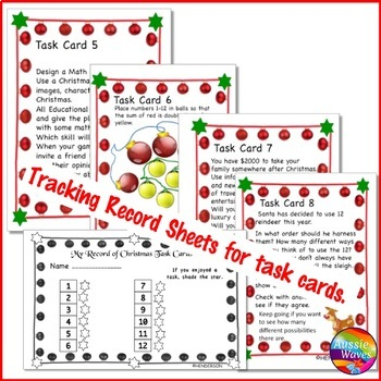 CHRISTMAS MATH Activities Task Cards MATH Centers PUZZLES WORD PROBLEMS