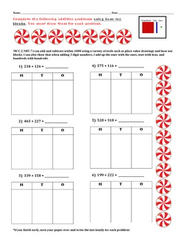 CHRISTMAS! MCC.2.NBT.7 Addition to 1000 uses place value base ten blocks