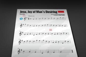 RECORDER SHEET MUSIC: Jesu, Joy of Man's Desiring (CHRISTMAS MUSIC)