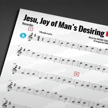 RECORDER SHEET MUSIC: Jesu, Joy of Man's Desiring (CHRISTM