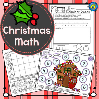 CHRISTMAS Math - Addition - Subtraction - Roll & Cover - Graphing - Sequencing