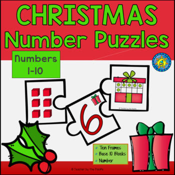 CHRISTMAS Math Number Puzzles 1 – 10 - Ten Frames and Base 10 Blocks