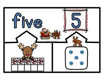 CHRISTMAS Math Number Puzzles 1 – 10 - Ten Frames and Dice