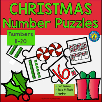 CHRISTMAS Math Number Puzzles 11 – 20 - Ten Frames and Base 10 Blocks