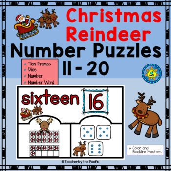 CHRISTMAS Math Number Puzzles 11 – 20 - Ten Frames and Dice