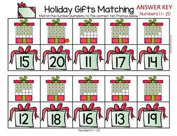 CHRISTMAS Math Number Sequencing and Matching  1 - 20