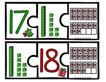 CHRISTMAS Math - Puzzles 1-20 - Ten Frames and Base 10 Blocks