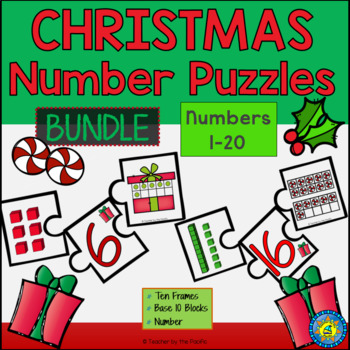 CHRISTMAS Math - Puzzles 1-20 - Ten Frames and Base 10 Blocks