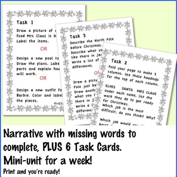 CHRISTMAS READING Passage and Activities Center Task Cards High Order Thinking