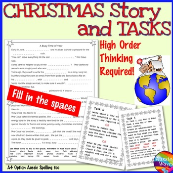 CHRISTMAS Mini-Unit READING Task Cards Reading Center High
