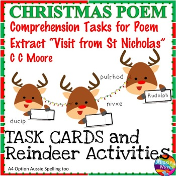 "CHRISTMAS POETRY ""T'was the Night Before Christmas"" Task Cards Reading Center"