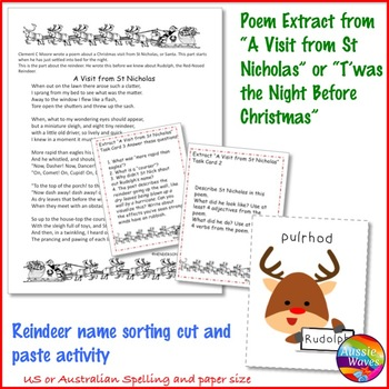 """CHRISTMAS POETRY """"T'was the Night Before Christmas"""" Task Cards Reading Center"""