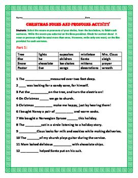 CHRISTMAS NOUNS & PRONOUNS ACTIVITY: GRADES 3-6,  ESL
