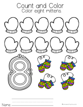 WINTER NUMBERS 1-10 NO PREP Preschool, Pre-K and Kindergarten