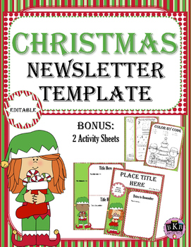 christmas newsletter template editable by bkb resources tpt