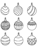 CHRISTMAS ORNAMENTS COLORING, 8 PAGES, 22 OPTIONS, CHRISTM