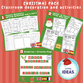 CHRISTMAS PACK- 8 Activities/ Classroom decoration- English-Spanish-French