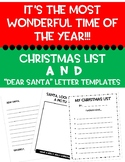 CHRISTMAS PACKET!! DEAR SANTA LETTERS & CHRISTMAS LIST TEMPLATE!