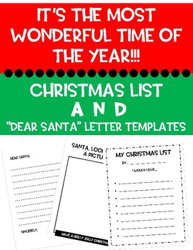 christmas packet dear santa letters christmas list template