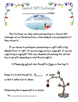 Christmas Holiday Party Letter And Secret Gift Exchange Letter For Parents