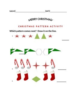CHRISTMAS PATTERN ACTIVITY FOR K & 1