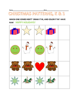 CHRISTMAS PATTERNS, K & 1- DRAW & COLOR!