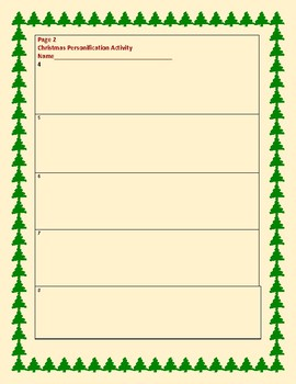 CHRISTMAS PERSONIFICATION WRITING ACTIVITY