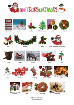 CHRISTMAS VOCABULARY - PICTIONARY - PAGE 1