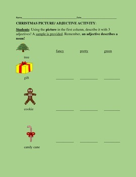 CHRISTMAS PICTURE/ADJECTIVE ACTIVITY K-3, ESOL