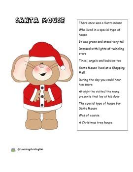 CHRISTMAS POEM - ORIGINAL SANTA MOUSE POEM AND FOLLOW ON ACTIVITY