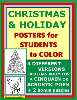 CHRISTMAS POSTERS for Students to Color and write a WISH poem