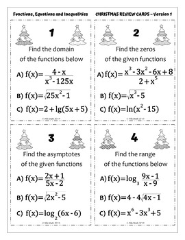 CHRISTMAS PRECALCULUS Review Cards - 50 Problems, 4 Versions, Full Solutions