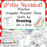 CHRISTMAS: Practice Irregular Present Tense Verbs- Draw on Grid