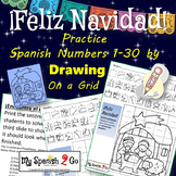 CHRISTMAS Practice SPANISH NUMBERS 1-30 Draw on Grid