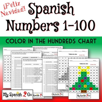 CHRISTMAS:  Practice with numbers 1-100 in Spanish.