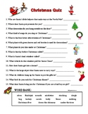 CHRISTMAS QUIZ - MATCH DEFINITIONS (Questions) WITH XMAS WORDS