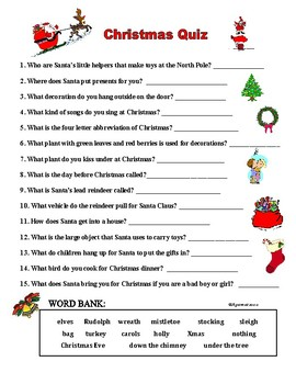 Christmas Quiz Match Definitions Questions With Xmas Words By Agamat