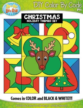 CHRISTMAS Quilt Color By Code Clipart {Zip-A-Dee-Doo-Dah Designs}