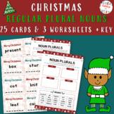 CHRISTMAS REGULAR PLURAL NOUNS (-S,-ES,-IES,-VES) - WORKSHEETS & TASK CARDS