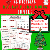 CHRISTMAS REGULAR PLURAL NOUNS - TASK CARDS, WORKSHEETS, GOOGLE SLIDE