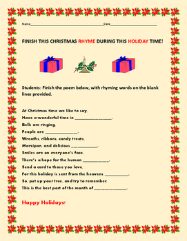 CHRISTMAS RHYME ACTIVITY-GRADES 3-6