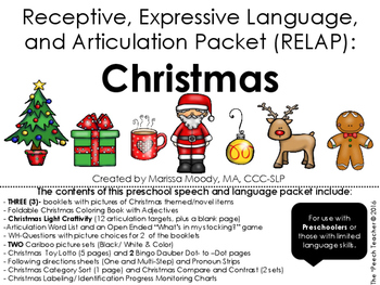 CHRISTMAS- Receptive, Expressive Language, and Articulation Packet (RELAP)