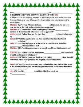 CHRISTMAS SCRIPTURE ACTIVITY