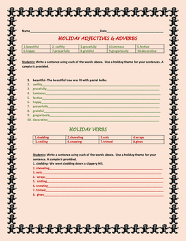 CHRISTMAS SENTENCES ACTIVITY