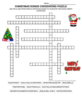 CHRISTMAS SONGS CROSSWORD PUZZLE