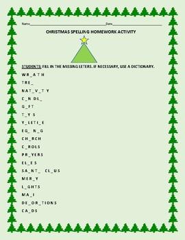 CHRISTMAS SPELLING HOMEWORK ACTIVITY