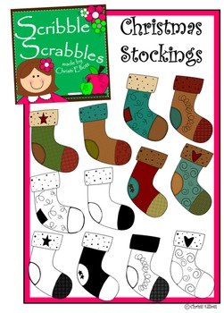 CHRISTMAS STOCKING CLIP ART WITH SET OF 12
