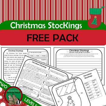 CHRISTMAS STOCKINGS FREE PACK Reading Writing  Math TWO LEVELS
